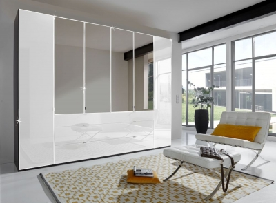 Wiemann VIP Eastside 6 Door Combi Wardrobe in Black and White Glass - W 300cm