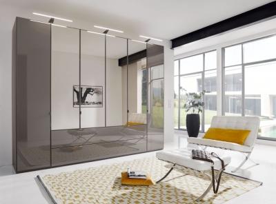 Wiemann VIP Eastside 6 Door Combi Wardrobe in Havana Glass - W 300cm
