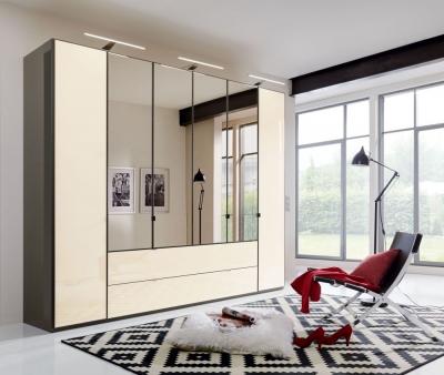 Wiemann VIP Eastside 6 Door Combi Wardrobe in Havana and Magnolia Glass - W 300cm