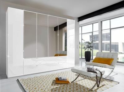 Wiemann VIP Eastside 6 Door Combi Wardrobe in White Glass - W 300cm