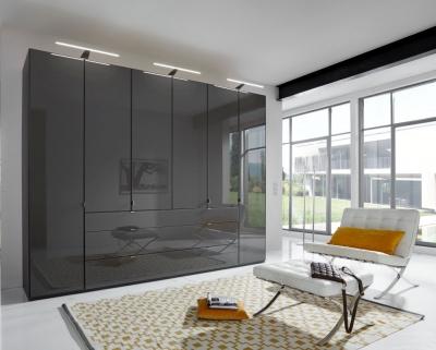Wiemann VIP Eastside 6 Door Wardrobe in Black Glass - W 300cm