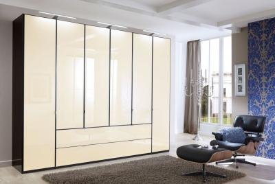 Wiemann VIP Eastside 6 Door Wardrobe in Black and Magnolia Glass - W 300cm