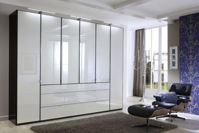 Wiemann VIP Eastside 6 Door Wardrobe in Black and White Glass - W 300cm