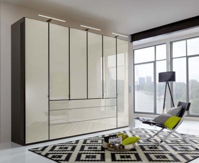 Wiemann VIP Eastside 6 Door Wardrobe in Havana and Magnolia Glass - W 300cm