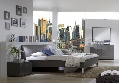 Wiemann VIP Eastside 6ft Queen Size Leather 43cm Footboard Height Bed in Havana - 180cm x 200cm