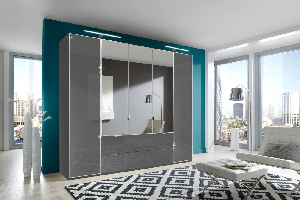 Wiemann VIP Eastside 5 Door 3 Drawer 3 Mirror Wardrobe in Havana - W 250cm