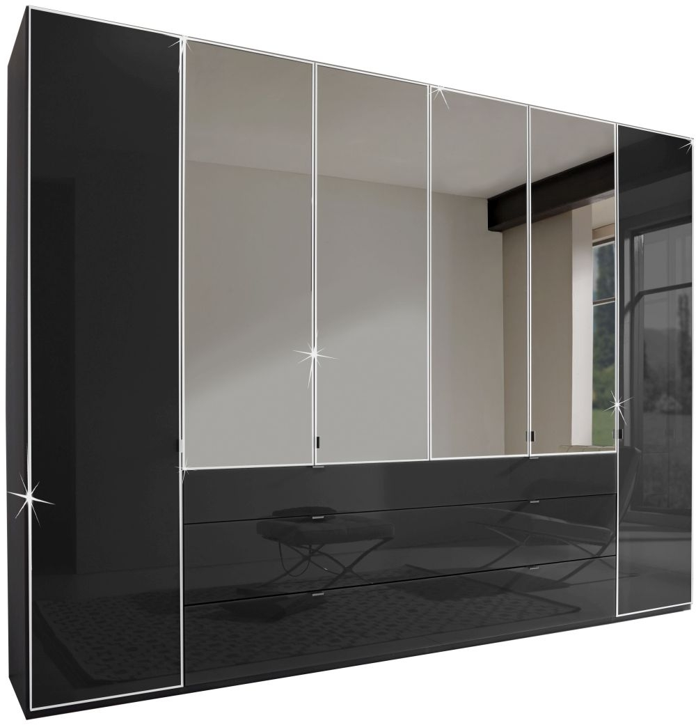 Wiemann VIP Eastside 8 Door 3 Drawer 4 Mirror Wardrobe in Black - W 400cm