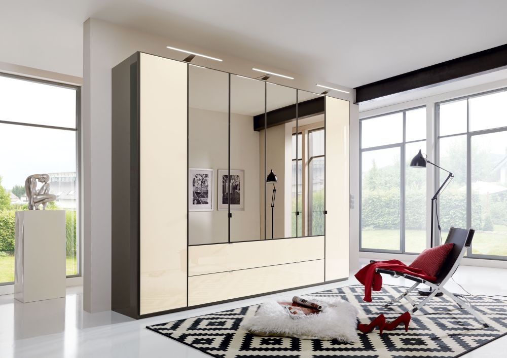 Wiemann VIP Eastside 8 Door 3 Drawer 4 Mirror Wardrobe in Havana and Magnolia - W 400cm