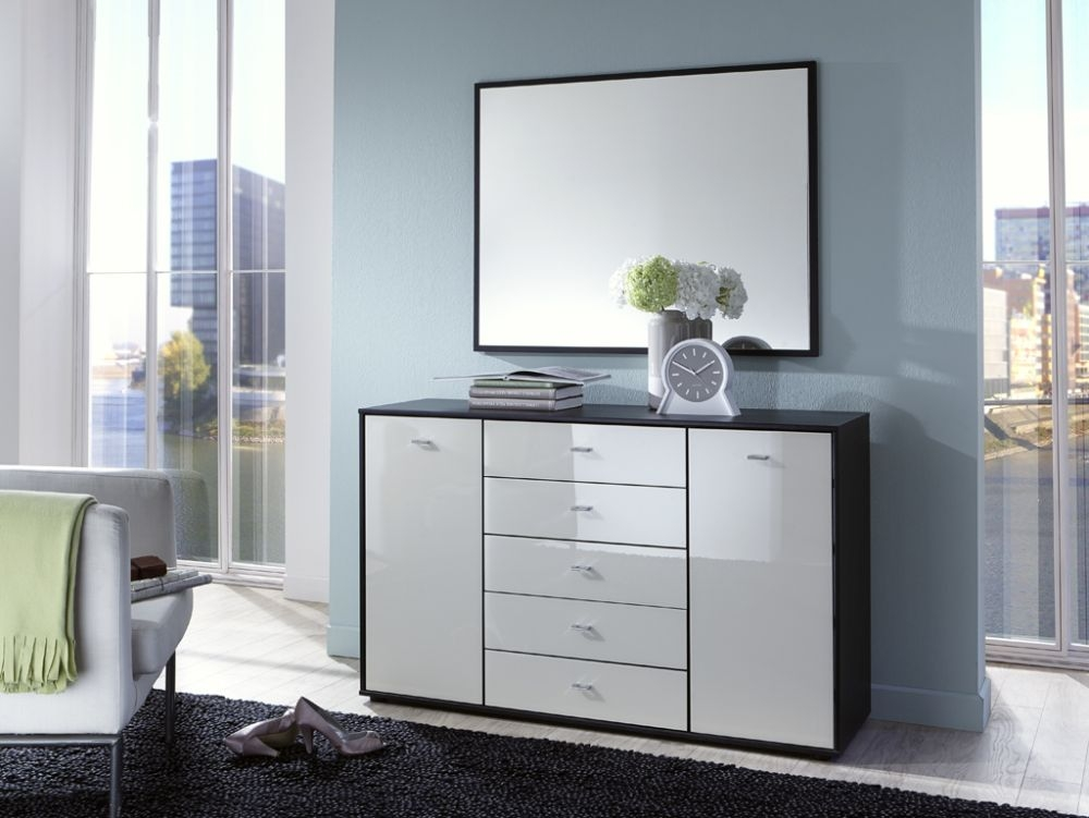Wiemann VIP Eastside 2 Door 5 Drawer Combi Chest in Black and White Glass