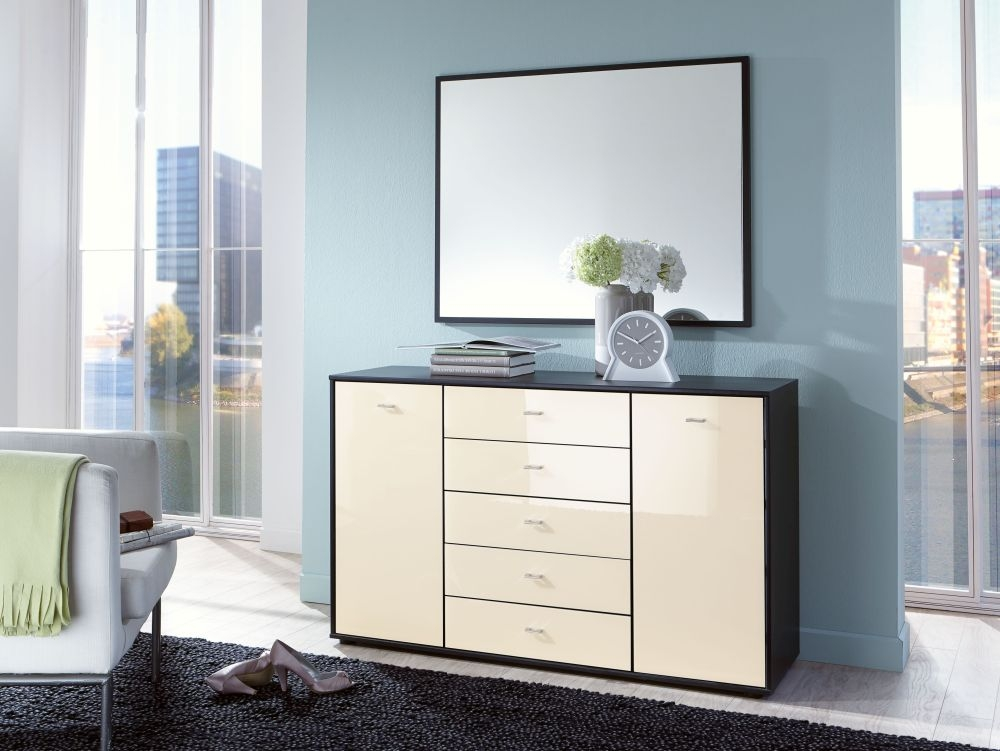 Wiemann VIP Eastside 2 Drawer Bedside Cabinet in Black and Magnolia Glass - W 60cm