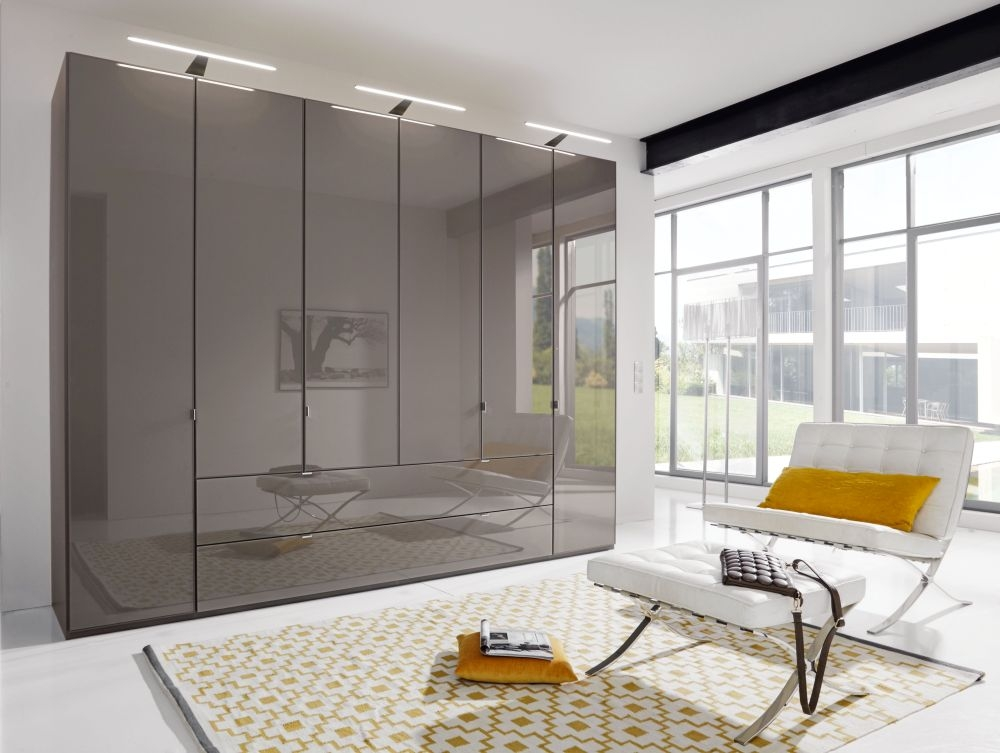 Wiemann VIP Eastside 6 Door Wardrobe in Havana Glass - W 300cm