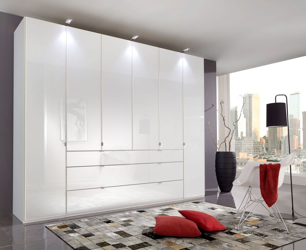 Wiemann VIP Eastside 6 Door Wardrobe in White Glass - W 300cm