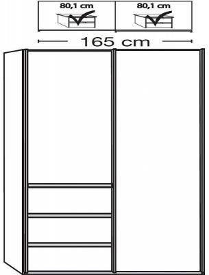 Wiemann VIP Malibu 2 Door Sliding Wardrobe in Oak and White Glass - W 165cm