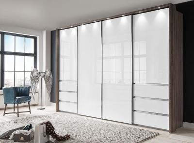 Wiemann VIP Malibu 4 Door Sliding Wardrobe in Oak and White Glass - W 330cm