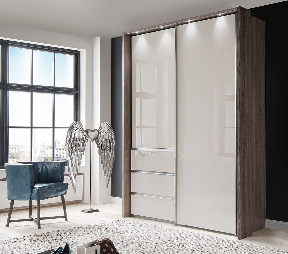 Wiemann VIP Malibu 2 Door Sliding Wardrobe in Oak and Champagne Glass - W 165cm