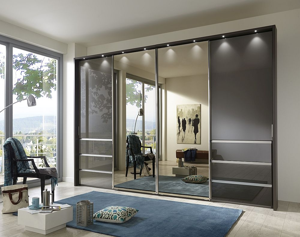 Wiemann VIP Malibu 4 Door Combi Sliding Wardrobe in Havana Glass - W 330cm