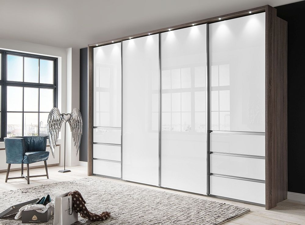 Wiemann VIP Malibu 4 Door Sliding Wardrobe in Oak and White Glass - W 330cm