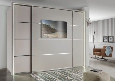 Wiemann VIP Multiplus2 3 Door 4 Panel TV Walk in Wardrobe in Champagne - W 300cm