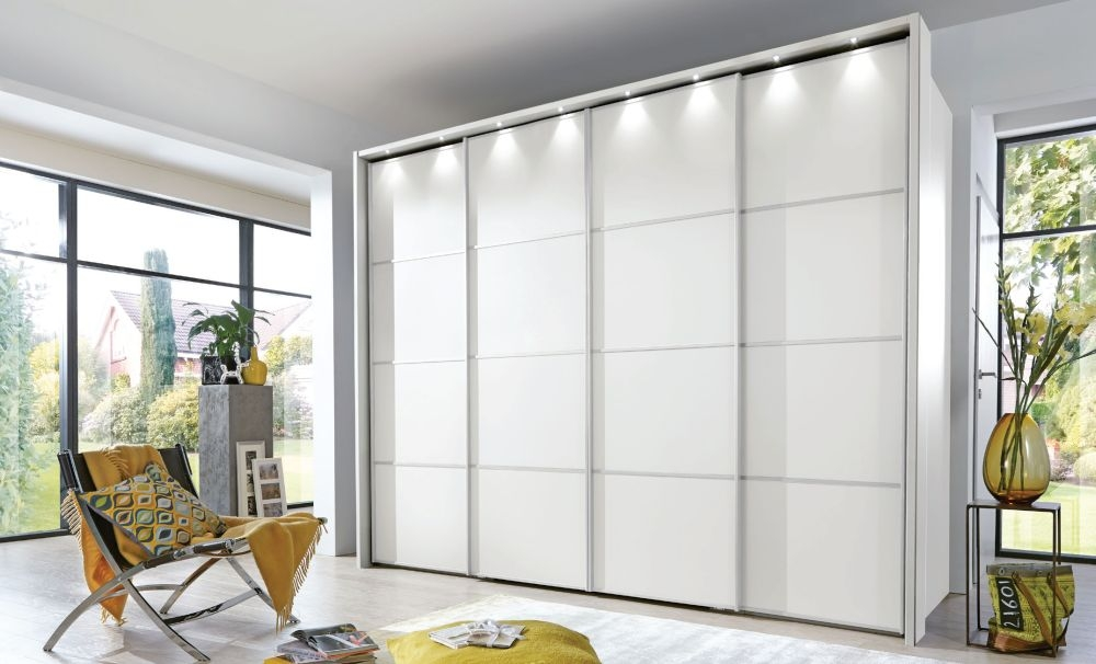 Wiemann VIP Multiplus 4 Door 1 Mirror 4 Panel Walk-in Wardrobe in White - W 300cm