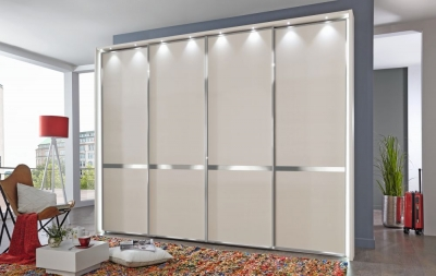 Wiemann VIP New York 4 Door Chrome Cross Trim Sliding Walk in Wardrobe in Champagne - W 330cm