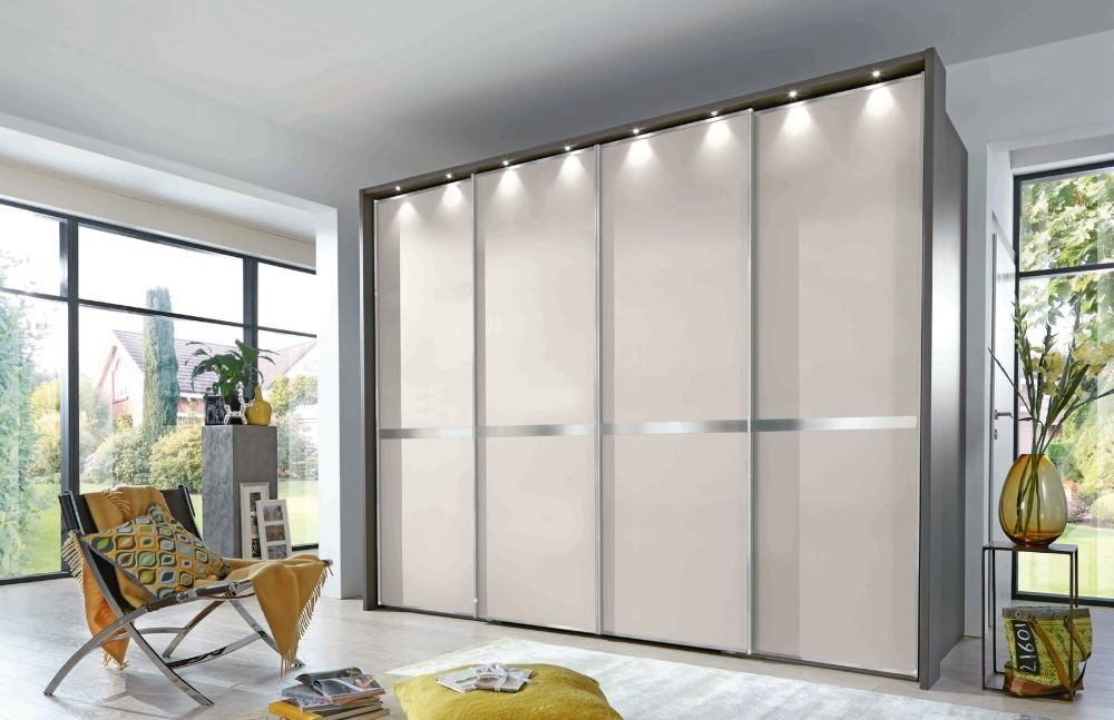 Wiemann VIP New York 4 Door Chrome Cross Trim Sliding Walk in Wardrobe in Havana and Champagne - W 300cm