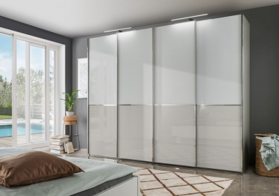 Wiemann VIP Shanghai2 3 Door Sliding Wardrobe in White and Pebble Grey - W 280cm
