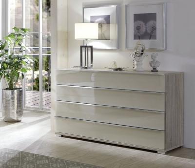 Wiemann VIP Shanghai2 3 Drawer Bedside Cabinet in Oak and Pebble Grey - H 48cm
