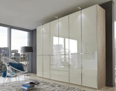 Wiemann VIP Shanghai2 4 Door 4 Drawer Combi Wardrobe in Oak and Pebble Grey - W 200cm
