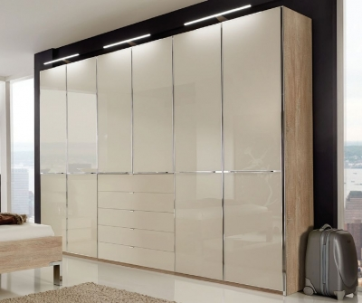 Wiemann VIP Shanghai2 5 Door 4 Drawer Combi Wardrobe in Oak and Magnolia - W 250cm