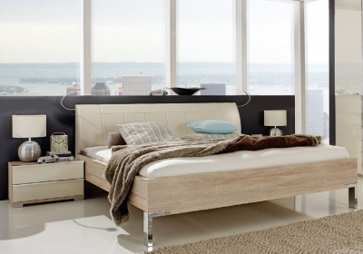 Wiemann VIP Shanghai2 5ft King Size Faux Leather Cushion Bed in Oak and Magnolia - 150cm x 200cm