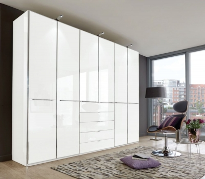 Wiemann VIP Shanghai2 6 Door 4 Drawer Combi Wardrobe in White - W 300cm