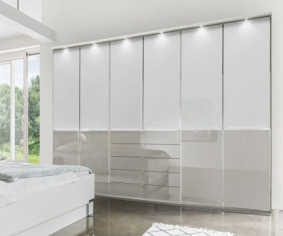 Wiemann VIP Shanghai2 8 Door 10 Drawer Combi Wardrobe in White and Pebble Grey - W 400cm