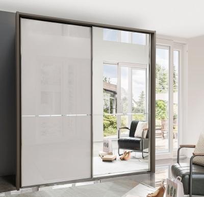 Wiemann VIP Shanghai2 2 Door Mirror Sliding Wardrobe in Havana and Pebble Grey Glass - W 200cm