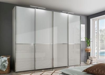 Wiemann VIP Shanghai2 4 Door Sliding Wardrobe in Havana and Magnolia Glass - W 330cm