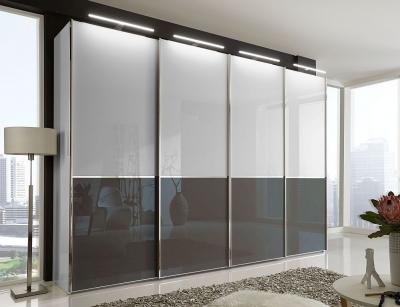 Wiemann VIP Shanghai2 4 Door Sliding Wardrobe in White and Havana Glass - W 330cm