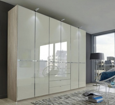 Wiemann VIP Shanghai2 6 Door Wardrobe in Oak and Magnolia Glass - W 300cm