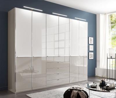 Wiemann VIP Shanghai2 6 Door Wardrobe in Pebble Grey and White Glass - W 300cm