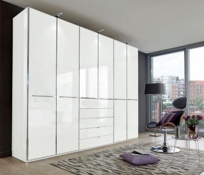 Wiemann VIP Shanghai2 6 Door Wardrobe in White Glass - W 300cm