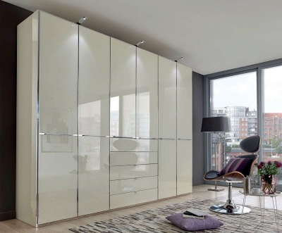 Wiemann VIP Shanghai2 6 Door Wardrobe in White and Magnolia Glass - W 300cm