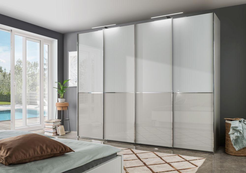 Wiemann VIP Shanghai2 3 Door Sliding Wardrobe in White and Pebble Grey - W 250cm