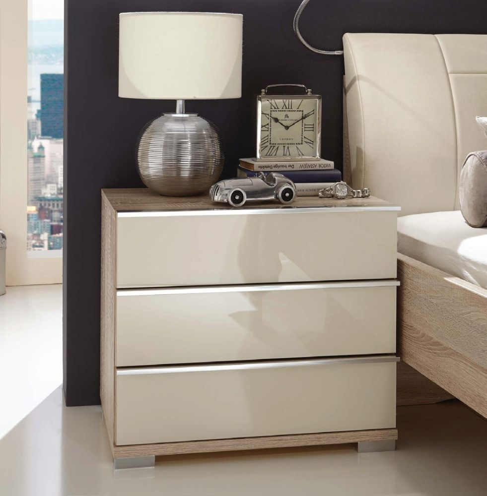 Wiemann VIP Shanghai2 3 Drawer Bedside Cabinet in Oak and Magnolia - H 48cm