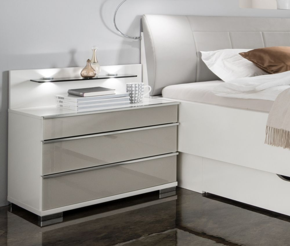 Wiemann VIP Shanghai2 3 Drawer Bedside Cabinet in White and Pebble Grey - H 53cm