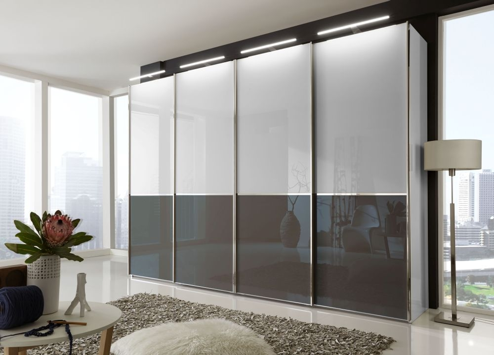 Wiemann VIP Shanghai2 4 Door Sliding Wardrobe in White and Havana - W 330cm