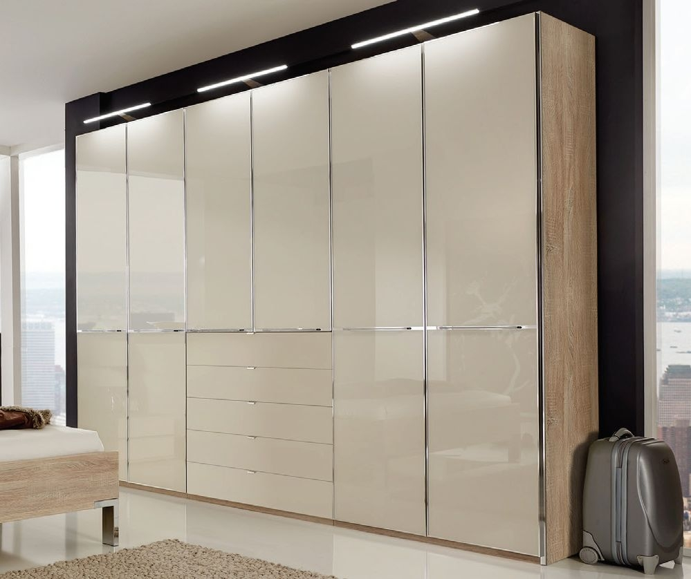 Wiemann VIP Shanghai2 6 Door 4 Drawer Combi Wardrobe in Oak and Magnolia - W 300cm