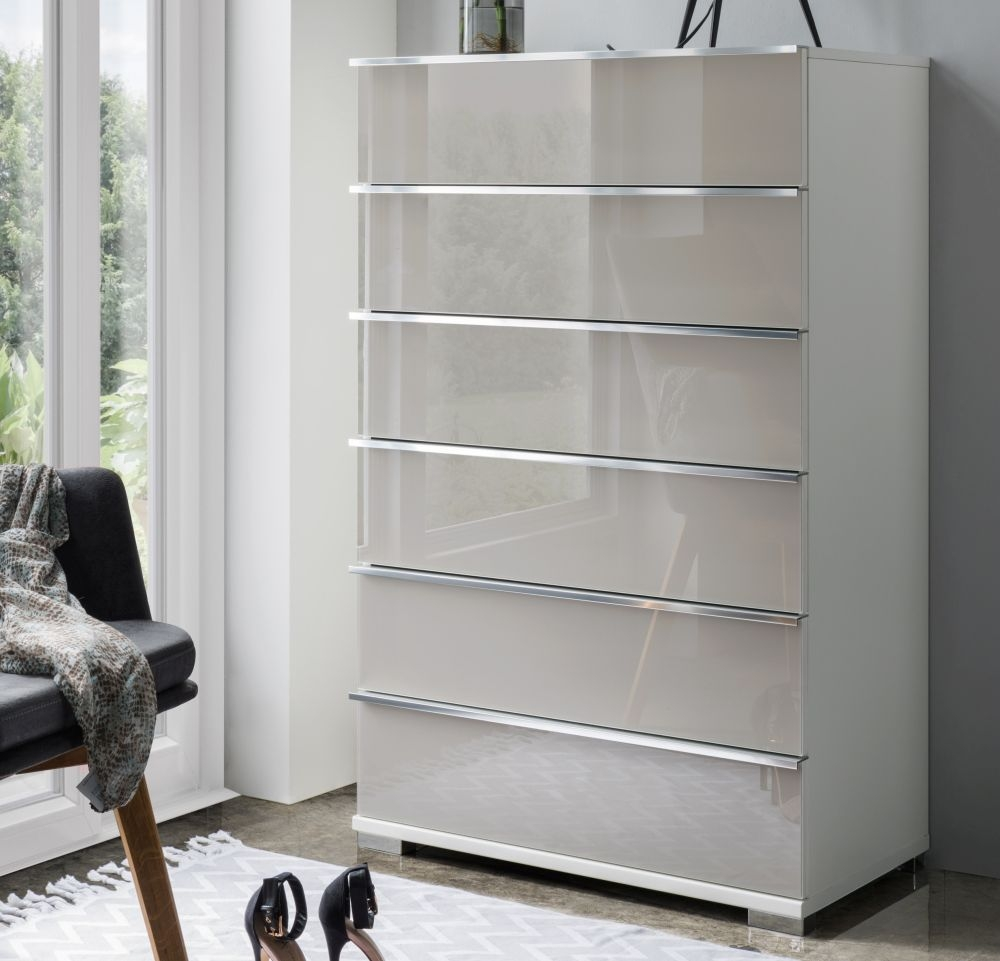 Wiemann VIP Shanghai2 6 Drawer Chest in White and Pebble Grey