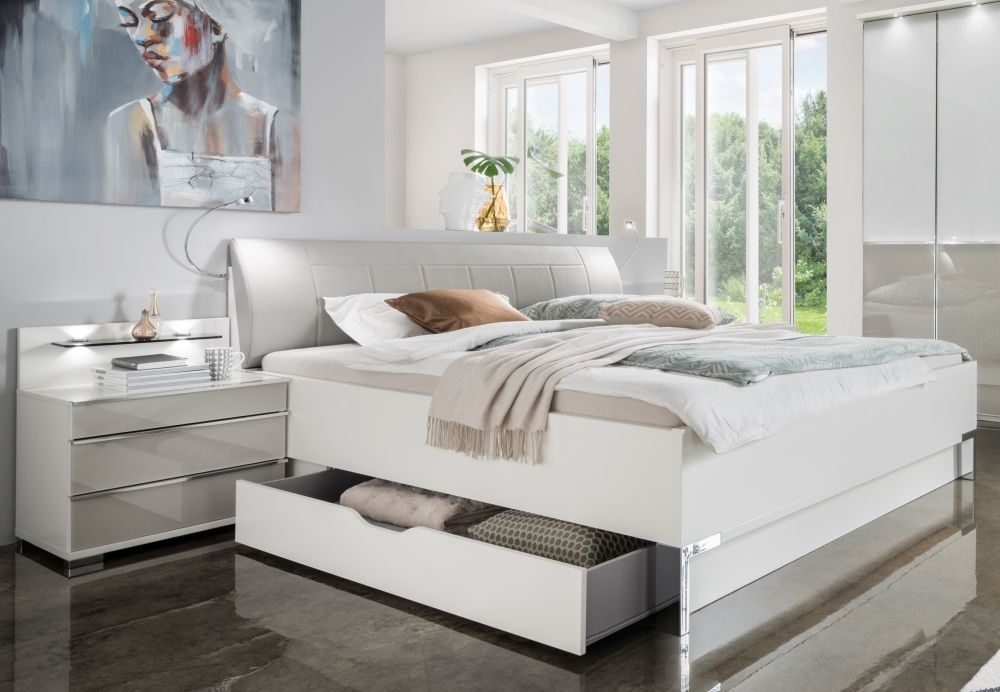 Wiemann VIP Shanghai2 6ft Queen Size Faux Leather Cushion Bed in White and Pebble Grey - 180cm x 200cm