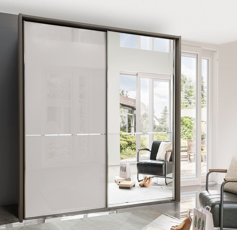 Wiemann VIP Shanghai2 2 Door Mirror Sliding Wardrobe in Havana and Pebble Grey Glass - W 200cm