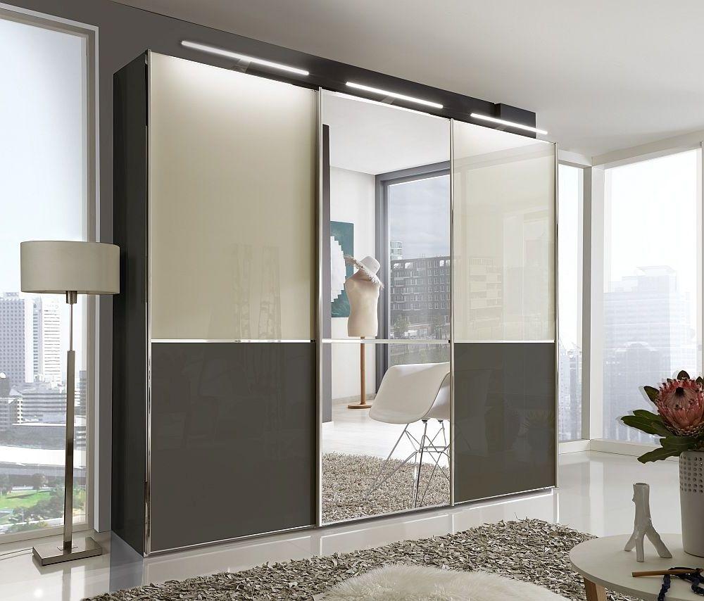 Wiemann VIP Shanghai2 3 Door Mirror Sliding Wardrobe in Havana and Magnolia Glass - W 300cm