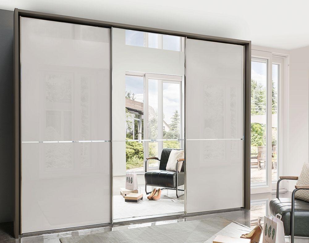 Wiemann VIP Shanghai2 3 Door Mirror Sliding Wardrobe in Havana and Pebble Grey Glass - W 300cm