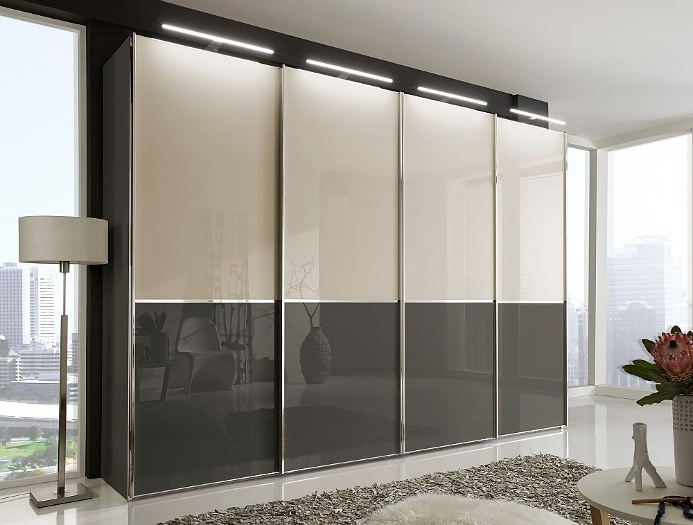 Wiemann VIP Shanghai2 4 Door Sliding Wardrobe in White and Pebble Grey Glass - W 300cm